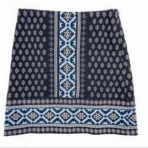 Loft Petite Blue Tribal Moroccan Pencil Skirt 0P